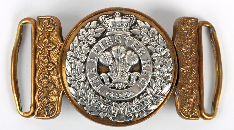 Leinster Regiment. A fine officer's waist belt clasp of the Leinster Regiment, the gilt metal buckle