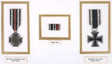 1914-18 German Imperial medals, an Iron Cross, second class and an Honour Cross of the World War