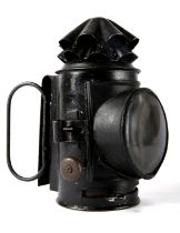Victorian Royal Irish Constabulary lantern, the black japanned body with two folding handles and