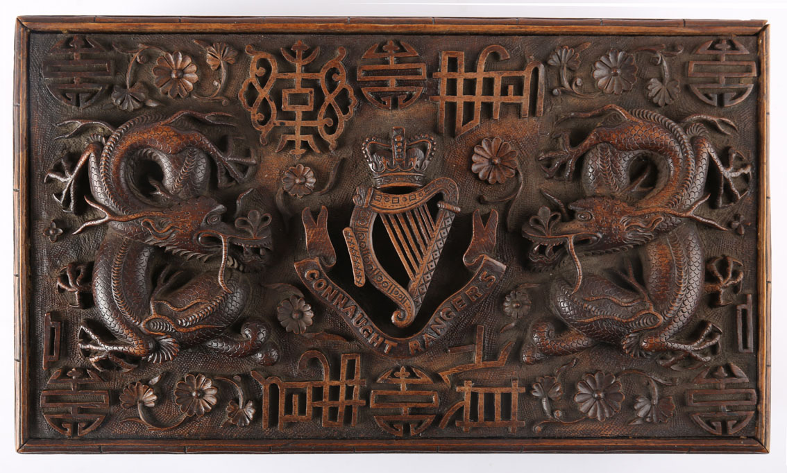 Connaught Rangers. A Kashmir carved hardwood box, the lid profusely carved in high relief with the - Image 2 of 2