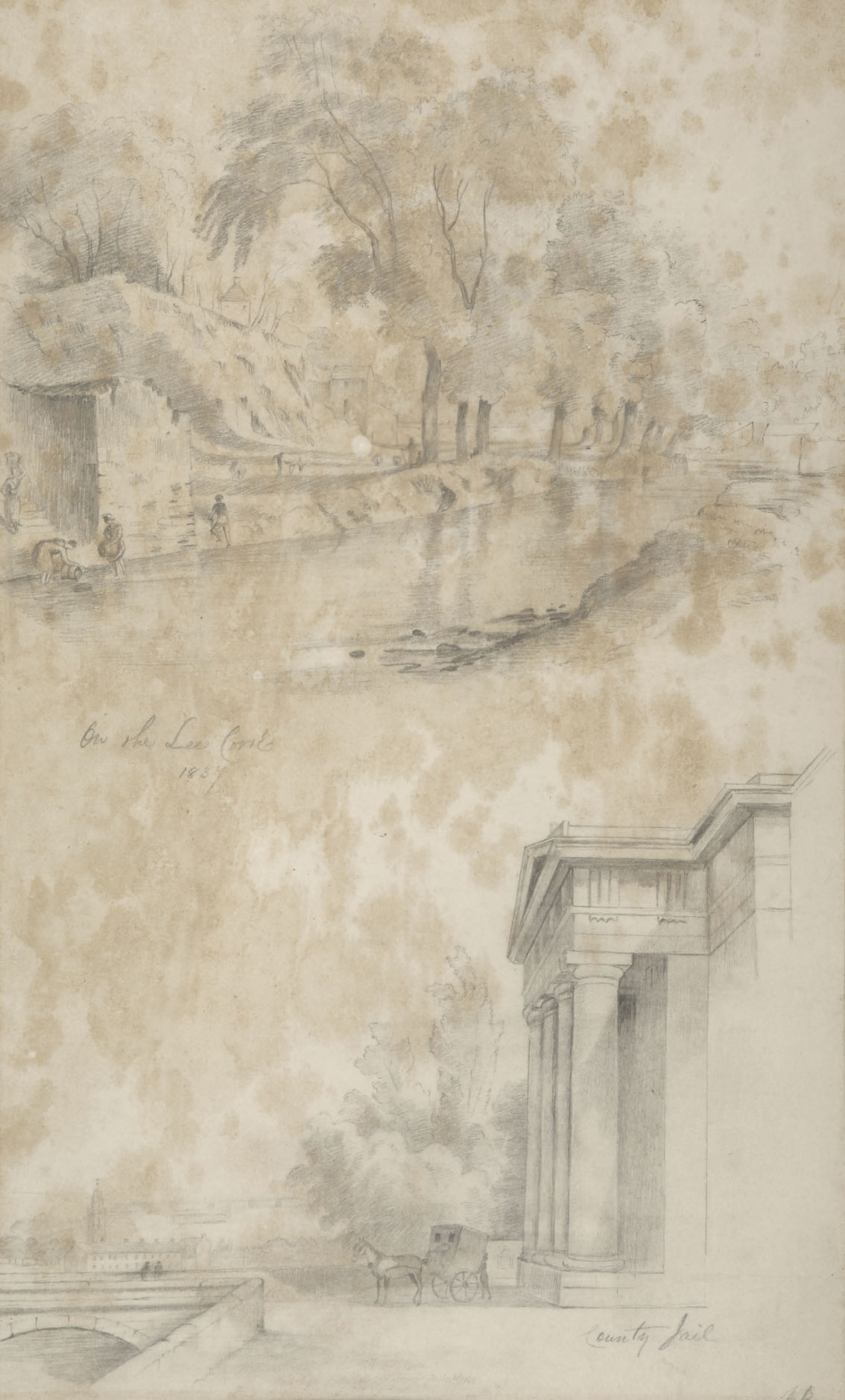 """William Roe (d1847) Irish Views of Cork City and environs Pencil on paper, sizes up to 13"""" x 21"""" (33"""