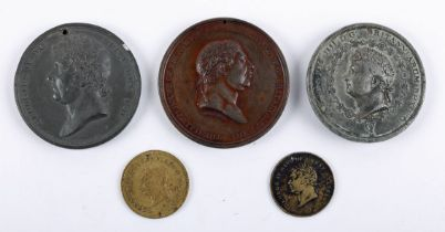 1814-1821 Medals commemorating royal visits to Ireland. 1814, copper medal, laureate bust of