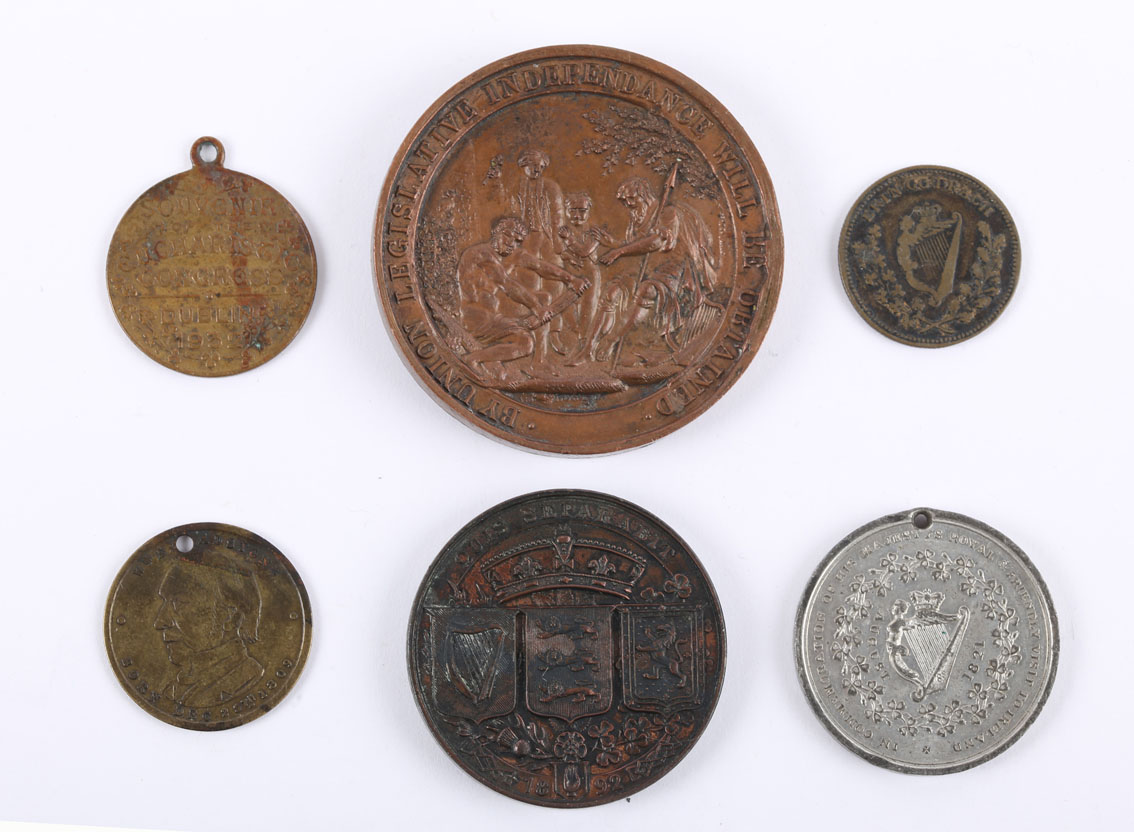 Irish political medals. A copper medal, bust of O'Connell, D.O'CONNELL & E.S. RUTHVEN ELECTED FOR - Image 2 of 2