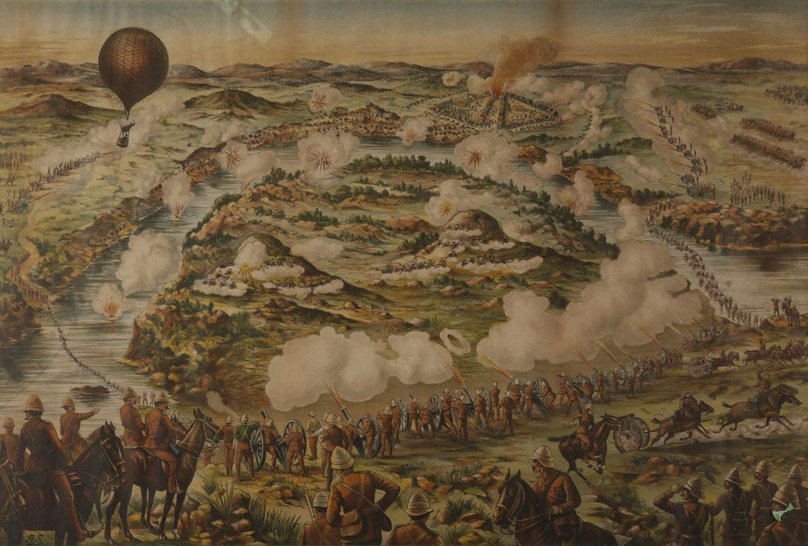 Boer War Battle of Paardeberg and Dashing Advance of the Canadians at Paardeberg, chromolithograph