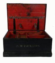 A 19th century Royal Irish Constabulary regulation barracks box, the black painted pine