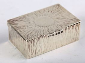 A Victorian silver two-compartment stamp box by Stokes & Ireland, the lid chased with a sunburst,
