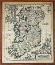 1733 Map of Ireland by Carol Allard, a hand-coloured, engraved map, Hyberniae Regni in Provincias