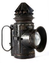 Edwardian Royal Irish Constabulary bullseye lantern, the black japanned body with two folding