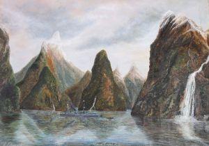Edward Fitzgerald (b.1876) Irish Milford Sound N.Z. & HMS New Zealand at anchor (2) Oil on canvas,