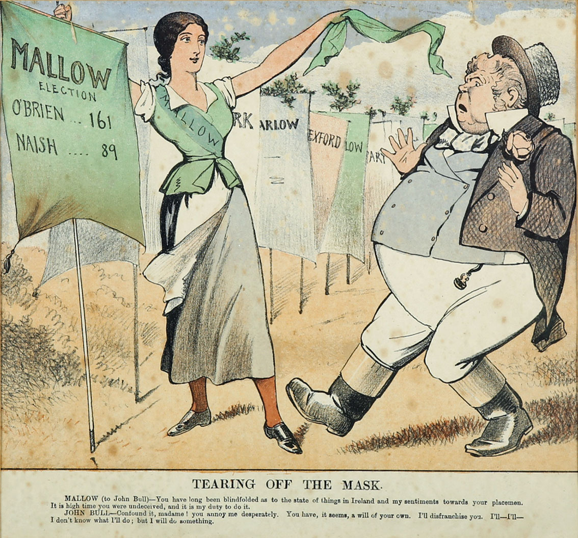 """1880s Four political cartoons, two concerning the 1883 Mallow by-election and two others, each 9"""""""