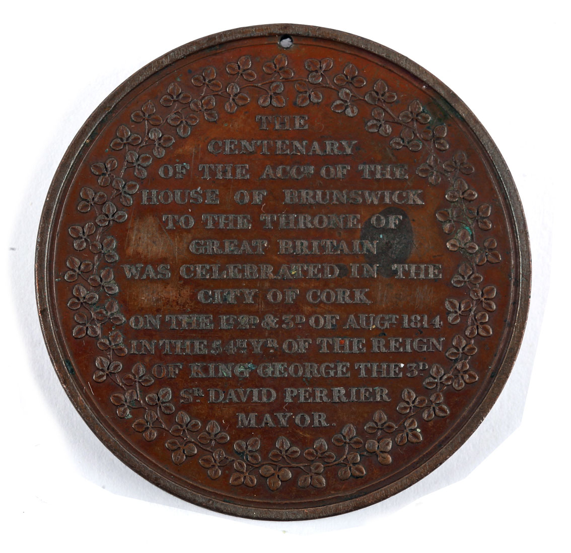 1814-1821 Medals commemorating royal visits to Ireland. 1814, copper medal, laureate bust of - Image 3 of 3
