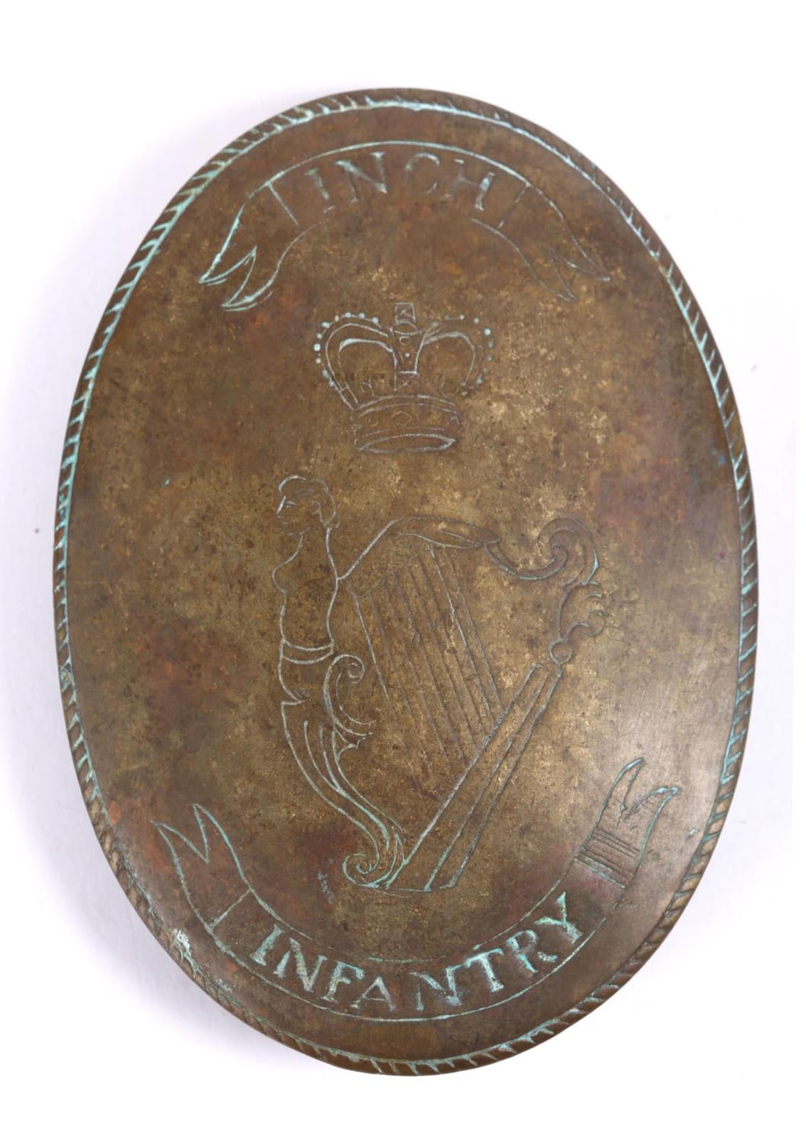 C.1790 Inch Infantry A brass oval convex cross belt plate engraved to the centre with a crowned Maid