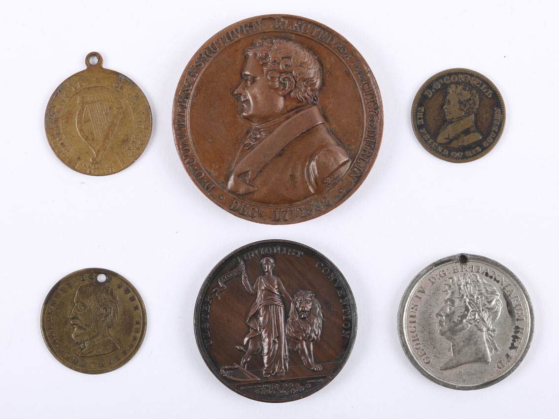 Irish political medals. A copper medal, bust of O'Connell, D.O'CONNELL & E.S. RUTHVEN ELECTED FOR