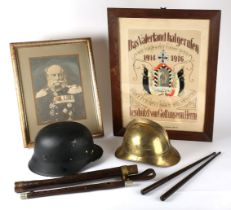 Collection of Imperial German militaria. A military hardwood and white metal flute in leather-