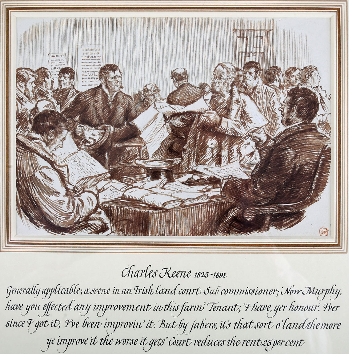 "Charles Samuel Keene (1823-1891) English Scene in an Irish Land Court. Pen and ink, 7"" x 10"" (18 x - Image 2 of 2"