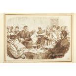 "Charles Samuel Keene (1823-1891) English Scene in an Irish Land Court. Pen and ink, 7"" x 10"" (18 x"