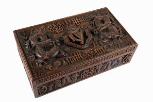 Connaught Rangers. A Kashmir carved hardwood box, the lid profusely carved in high relief with the