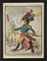 James Gillray. Buonaparte hearing of Nelson's Victory, swears by his Sword to Extirpate the