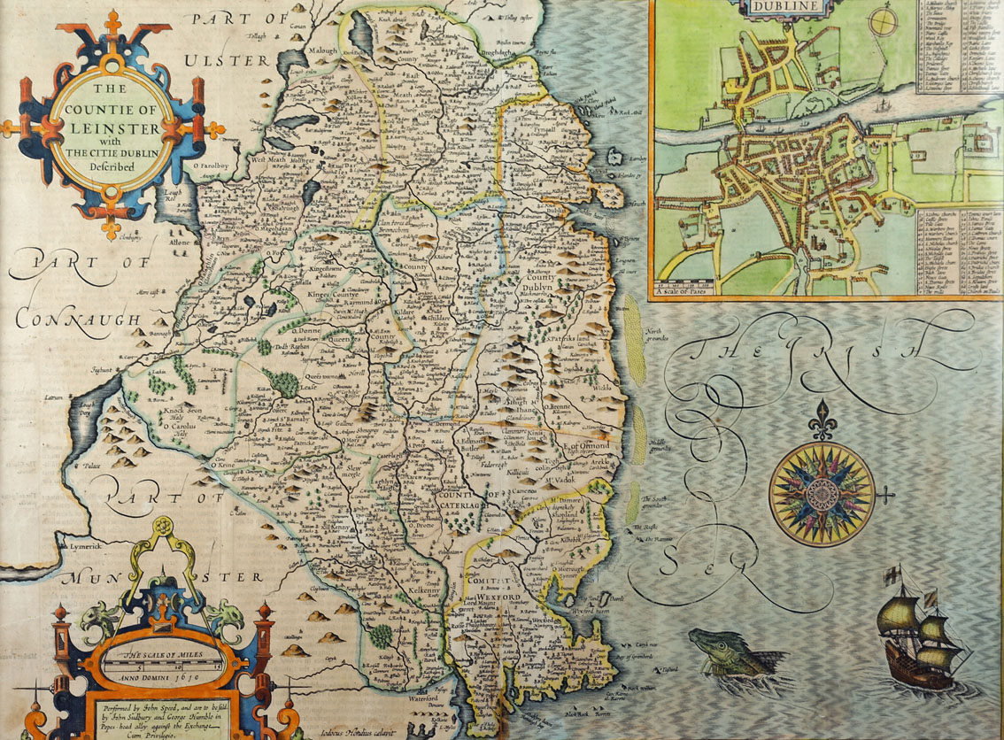1612 Map of Leinster by John Speed. A hand-coloured, engraved map, 'The Countie of Leinster with the