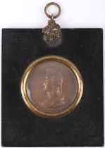 A late 18thC gilt metal circular embossed relief cameo portrait of William Pitt, head and