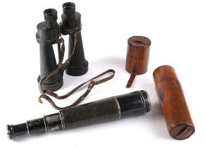 Early 20th century black enamelled and hide- covered aluminium three-draw 60mm spotting telescope,