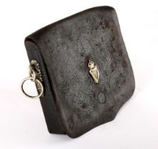 Royal Irish Constabulary. A black leather rectangular dispatch pouch with white metal foliate