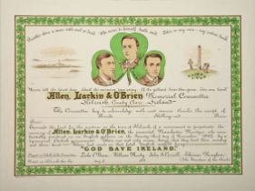 1867 Allen Larkin & O'Brien (Manchester Martyrs) Memorial, Kilrush, Co. Clare, certificate of