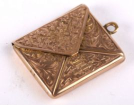 An Edwardian gold, envelope-shaped stamp case by Albert Ernest Jenkins, the front engraved with