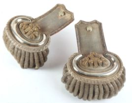 Late 19th century Irish Lord Lieutenant's full dress epaulettes. A pair of silver and gilt