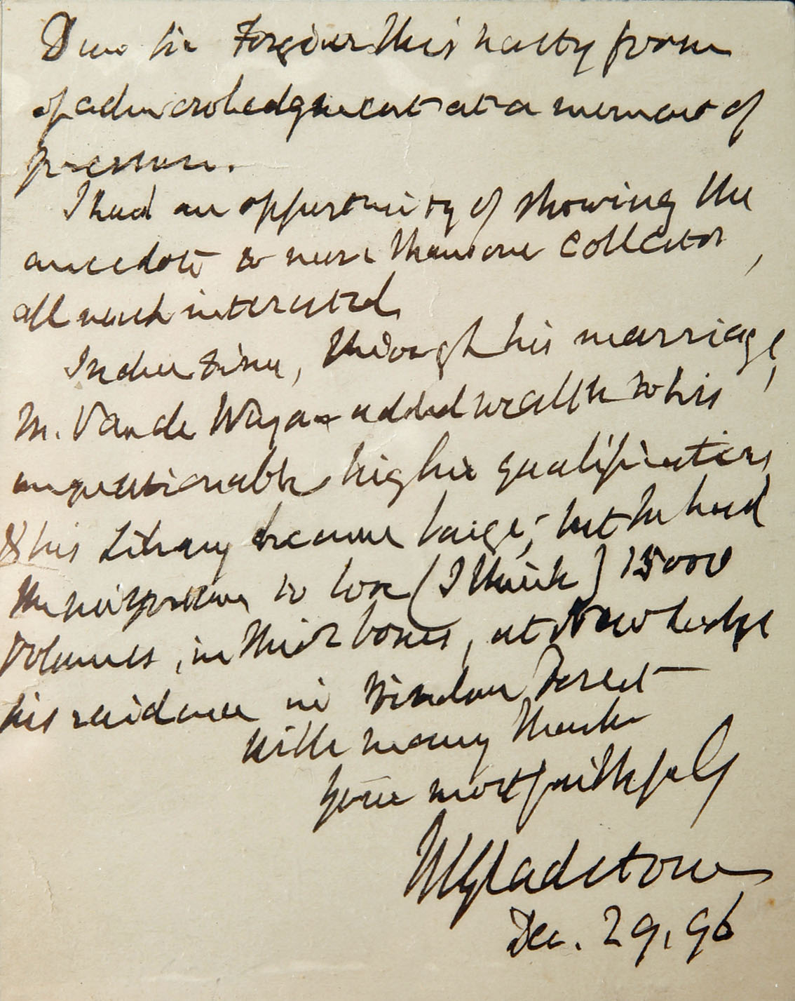 William Gladstone, autograph letter signed, one page, December 29, 1896 A personal letter to General