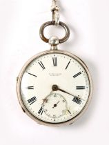 An Edwardian, silver cased, fusee pocket watch, 42mm white enamel dial with Roman numerals and