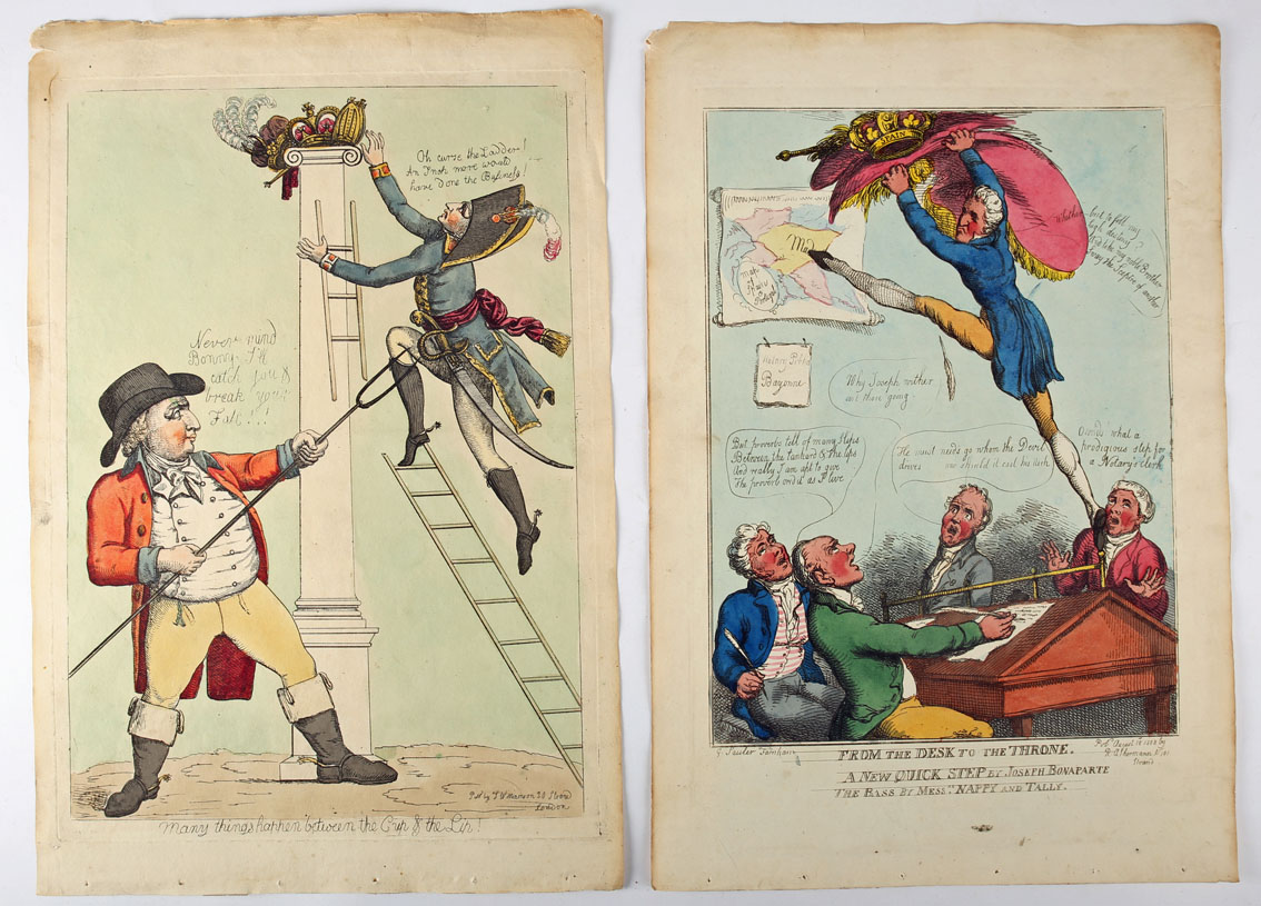 A collection of five late 18th and early 19th century hand-coloured, engraved cartoons - Image 2 of 2