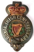 Victorian Royal Irish Constabulary barracks sign, Nenagh, Co. Tipperary. A painted, cast iron relief