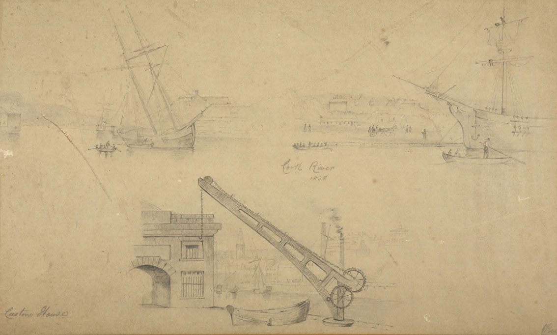 """William Roe (d1847) Irish Views of Cork City and environs Pencil on paper, sizes up to 13"""" x 21"""" (33 - Image 2 of 8"""