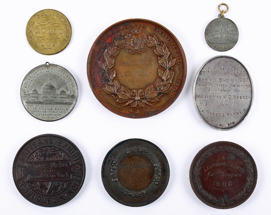 Irish exhibition medals. An 1865 Dublin International Exhibition bronze award medal awarded to E. - Image 3 of 3