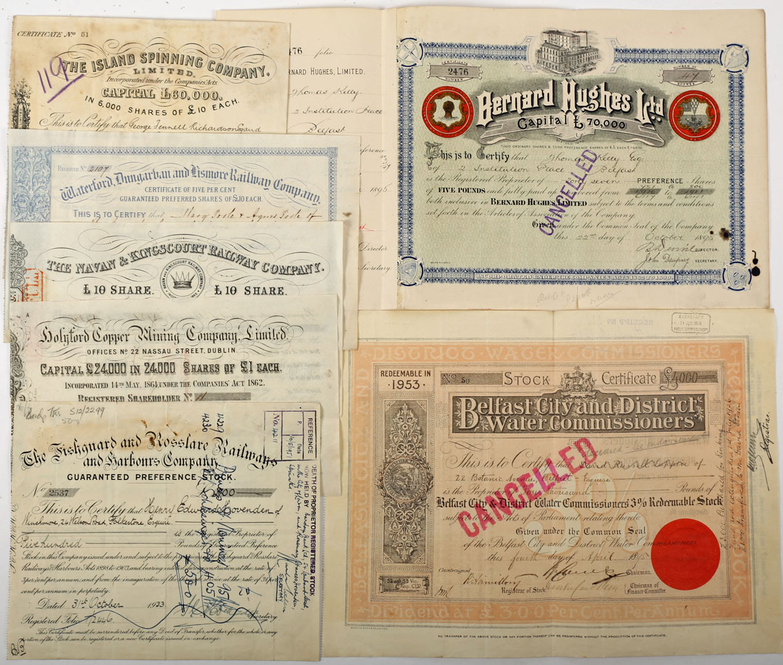 Irish scripophily 1864-1933. A collection of seven Irish share certificates. Holyford Copper
