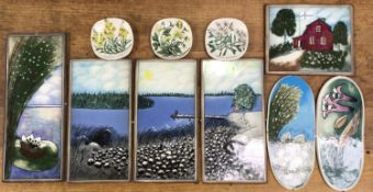 Heljä Liukko-Sundström (1938-), Finland, A pottery tryptich 'Summer in our Hearts', 35.5 x 18cm,
