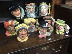 Nine large Royal Doulton character jugs comprising Captain Ahab, D6500, Mad Hatter, D6598, The Red