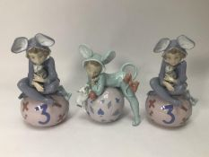 Three Lladro porcelain figures including two 'Loving Mouse No. 5883' and 'Mischievous Mouse No.