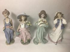Four Lladro porcelain figures including 'Pocket Full of Wishes No. 7650, 'A Wish Come True No.