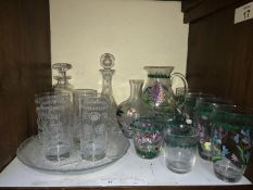 SECTION 17. A Portmeirion hand painted glass lemonade set, similar vase, two various decanters, four