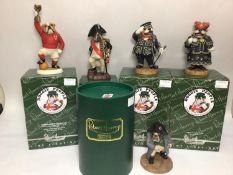 Five various Robert Harrop Doggie People bulldog figures including 'Albert' Pearly King DPR01, '