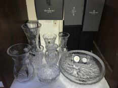 SECTION 19. Seven various vases including examples by Waterford Crystal and Dartington, a