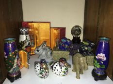 SECTION 21. Various Oriental figures including a pair of cloisonne vases on stands, pair of