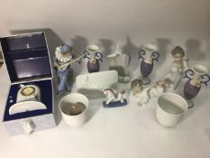 Various Lladro porcelain including two angels, three posy vases, signed plaque, rocking horse