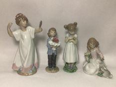 Four various Lladro porcelain figures 'You Deserve the Best No. 8504', 'Forrest Encounter No. 6931',