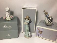Three various Lladro porcelain figures 'Playful Character No. 8207', 'Bashful Bather No. 5455',