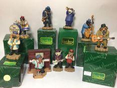 Nine Robert Harrop Doggie People figures 'The Crazy Dog Ragtime Band' including 'Strumming' Westie