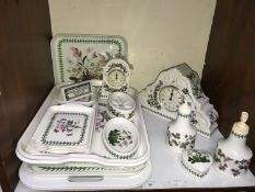SECTION 14. Portmeirion 'Botanic Garden' pattern mantel clock, together with another smaller