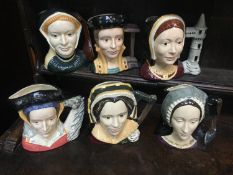 A set of six large Royal Doulton character jugs comprising The six wives of Henry VIII, Catherine of